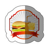 color emblem with hamburger, soda and fries french and ribbon Royalty Free Stock Photos