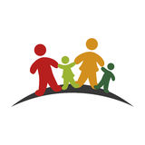 Color emblem pictogram with family group Stock Photo