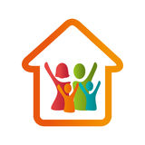 Color emblem pictogram with family in home Stock Image