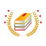 Color emblem with stacking books and olive branchs Stock Photos