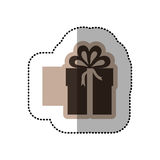 Color emblem sticker box with bow ribbon icon Stock Photo
