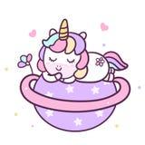 Color en colores pastel lindo de Unicorn Cartoon Baby Animal Vector con la estrella del corazón y del amor, libre illustration