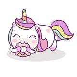 Color en colores pastel lindo del feliz cumpleaños de la torta del buñuelo del vector del unicornio stock de ilustración