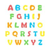 Color English alphabet. Cartoon colorful alphabet on white background, uppercase letters Royalty Free Stock Photo