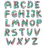 Color english alphabet in doodle style Royalty Free Stock Image