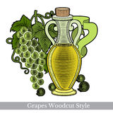 Color engraving label for food or cosmetics isolated on white. Glass bottle of grape seed oil or vinegar with grapes Royalty Free Stock Photography