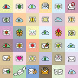 Color envelope icons Stock Photos