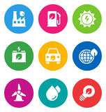 Color environmental icons. Color circular environmental icons isolated on white background.  EPS 10 vector illustration, contains NO transparencies Stock Image