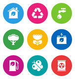 Color environmental icons. Color circular environmental icons isolated on white background Royalty Free Stock Images
