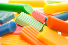 Color erasers. Photo of multicolored erasers on a white background Stock Photography