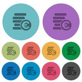 Color euro coins flat icons. Color euro coins flat icon set on round background Royalty Free Stock Image