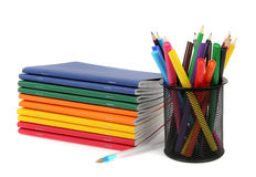 Color exercise book and holder Royalty Free Stock Photo