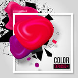 Color explosion. Abstract vector illustration with realistic blots and border frame. Modern design layout for business presentations, flyers, posters. EPS 10 stock illustration
