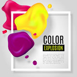 Color explosion. Abstract vector illustration with realistic blots and border frame. Modern design layout for business presentations, flyers, posters. EPS 10 vector illustration