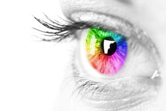 Colorful eye. Color eye of a beautiful woman Royalty Free Stock Photo