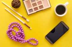 Make up beauty and fashion background. royalty free stock images