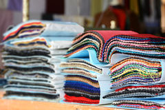 Color Fabric samples. Fabric samples for the tailor Royalty Free Stock Photos