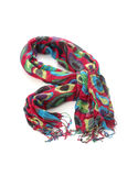 Color fabric scarf. On white background Royalty Free Stock Photos