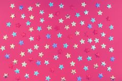 Color fabrik stars on red background stock photos