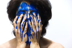 Color, Face, Blue, Painting, Woman Stock Photography