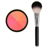 8 color face blush with brush isolated on white Stock Photos