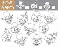 Color faces of clowns and count how many clowns. Vector illustra. Tion Stock Photos