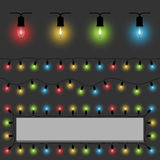 Color fairy lights template Royalty Free Stock Images