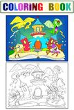 Color fairy open book tale concept kids illustration with evil dragon, brave warrior and magic castle. Coloring, black. Color fairy open book tale concept - kids royalty free illustration