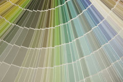 Color Fan Pastel. The pastel section of a paint swatch book Stock Photos