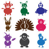 Color farm animals with mild mental disabilities eps10 Stock Photo