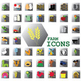 Color farm icons Royalty Free Stock Photography