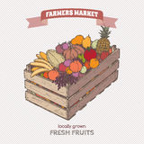 Color farmers market label with fruits in wooden crate. Based on hand drawn sketch Royalty Free Stock Photo