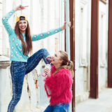 Color fashion portrait of beautiful glam street Stock Photos