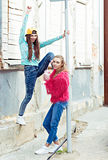 Color fashion portrait of beautiful glam street Stock Image