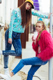 Color fashion portrait of beautiful glam street Stock Photos