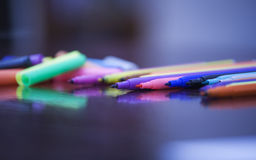Color felt-tip pen. On the table Royalty Free Stock Photography