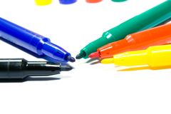 Color felt-tip pens. Photographed close up on a white background Stock Photo