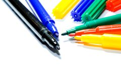 Color felt-tip pens. Photographed close up on a white background Royalty Free Stock Images
