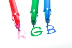 Color felt-tip pens. Photographed close up on a white background Stock Photos