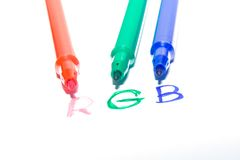 Color felt-tip pens. Photographed close up on a white background Royalty Free Stock Photos