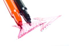 Color felt-tip pens. Photographed close up on a white background Stock Image