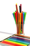 Color felt tip pens and coloring pencils Royalty Free Stock Photography
