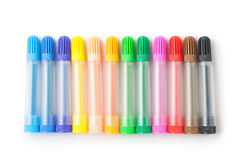 Color felt-tip pens. Isolated on white background royalty free stock photography