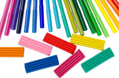 Color felt-tip pens and plasticine Royalty Free Stock Images