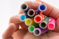 Color felt-tip pens on white background Stock Image