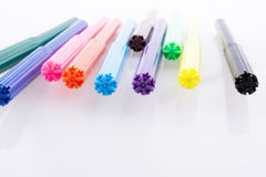 Color felt-tip pens on white background Royalty Free Stock Photos