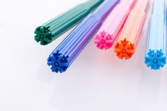 Color felt-tip pens on white background Royalty Free Stock Photography