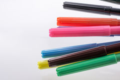 Color felt-tip pens on white background Royalty Free Stock Images