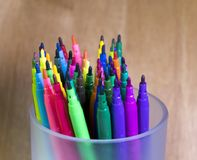 Color felt tip pens. On a wood background stock photo