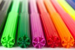 Color felt-tips background. Plastic color felt-tips pens background Stock Photo